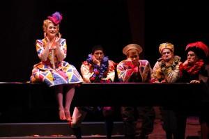 From Seattle Opera's 2004 Ariadne auf Naxos: Jane Giering-DeHaan (Zerbinetta), Seth Malkin (Truffaldino), Philip Cutlip (Harlekin), William Saetre (Brighella), and Steven Goldstein (Scaramuccio) (Rozarii Lynch, photo)