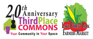 20th anniversary Third Place Commons logo and Lake Forest Park Logo with tomatoes, corn, and lettuce
