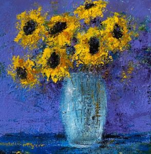 Impressionistic painting of Sunflowers in a vase with a blue background